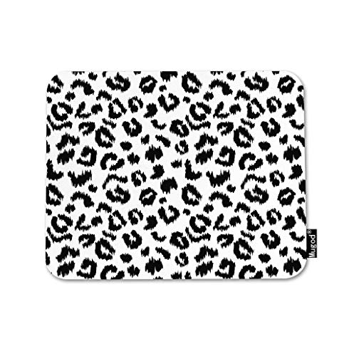 Mugod Leopard Print Mouse Pad Abstract Art Animal Fur Pattern Black and White Gaming Mouse Mat Non-Slip Rubber Base Mousepad for Computer Laptop PC Desk Office&Home Working 9.5x7.9 Inch