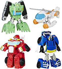 Convert bots to vehicles and back again in 1 step Play in bot mode or vehicle mode 4 core Rescue Bot figures in their classic vehicle modes Includes Boulder the Construction-Bot, Blades the Flight-Bot, Heatwave the Fire-Bot, and Chase the Police-Bot ...