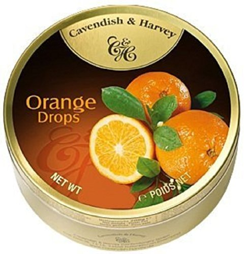 Cavendish And Harvey Candy (3 Pack) Fruit Hard Candy Tin 5.3 Ounces Imported German Candy (Orange Drops)