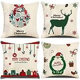 Juego de 4 Fundas Cojines 45x45 Funda de Almohada linaza Modernas Cojines Decoracion para Sofa (Verde Navidad)