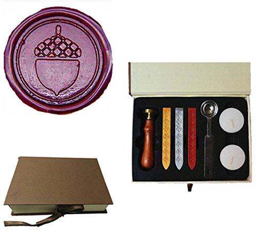 MDLG Vintage Acorn Picture Logo Wedding Invitation Wax Seal Sealing Stamp Sticks Spoon Gift Box Set Kit