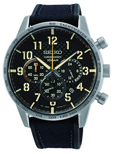Seiko Chronograph Herren-Uhr Edelstahl mit Band aus Textil und Silikon SSB367P1