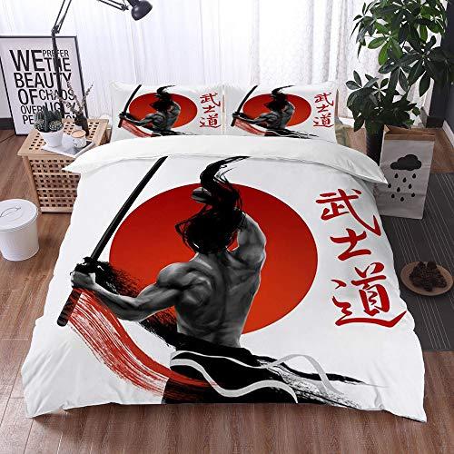 Bedding Juego de Funda de Edredón -Samurai japonés en la práctica con los músculos Katana Disciplina asiática del sol japonés/Microfibra Funda de Nórdico (Cama 135 x 200 cm + Almohada 50X80 cm)