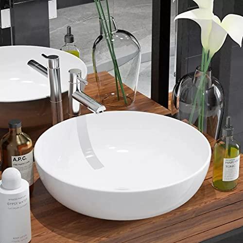 vidaXL Lavabo Ronde Céramique Blanc 41,5x13,5 cm Vasque à Poser Salle de Bain