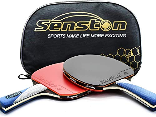 ITTF, set di mazze da ping pong, 2 giocatori, ping pong, pingpong paddle con 2 pipistrelli per attività familiari, scuola (scuotere le mani)