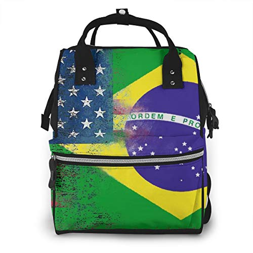 Abstract Brazil American Flag Baby Diaper Bag Backpack,Multi-Function Waterproof Large Capacity Travel Nappy Bags For Mom
