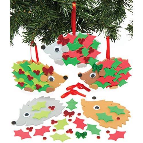 Kit Decorativi con Ricci Natalizi stile Agrifoglio Baker Ross (confezione da 5)- Creativi articoli natalizi e artigianali per bambini, da realizzare e decorare.