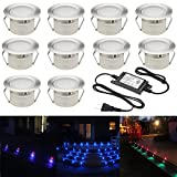 FVTLED Low Voltage 10pcs Multi-color RGB LED Deck Lights Kit 1-3/4' Stainless Steel Recessed Wood Outdoor Yard Garden Decoration Lamp Patio Stairs Landscape Outdoor Step Lighting