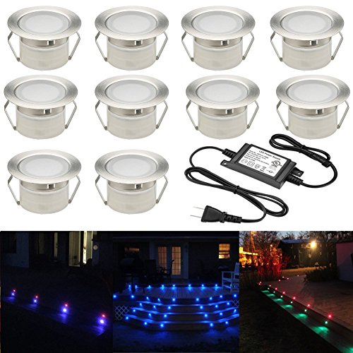 FVTLED Low Voltage 10pcs Multi-color RGB LED Deck Lights Kit 1-3/4