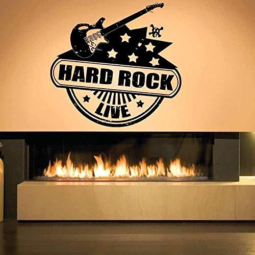 HNXDP Hard Rock Live Gitarre Stempel Wandaufkleber für Hintergrund Wohnzimmer Vinyl Wallpaper Kunst Home Decals Poster Dekor Wandbilder 60X57cm