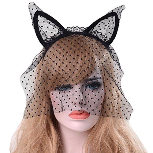 Bigood Serre-tête Oreilles de Chat Masque Voile Halloween Décoration Coiffure