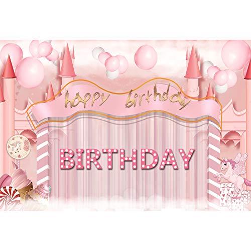 Cassisy 2,2x1,5m Polyester Einhorn Fotohintergrund Alles Gute zum Geburtstag Banner Rosa Schloss Ballone EIS Fotoleinwand Hintergrund für Fotostudio Requisiten Party Baby Photo Booth