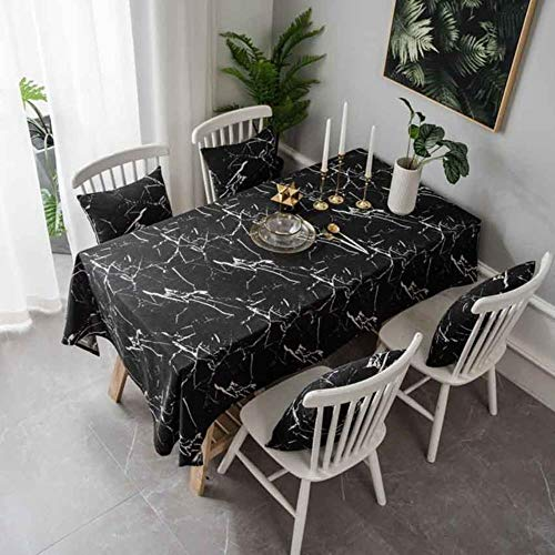 Moderne einfache Marmor Grain Printed Tischdecke Staub-Beweis-Dekor Kaffee Esstisch Fotografie Cloth Tischdecke,schwarz,Tischdecke 140x140cm
