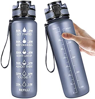 Manords 32oz Motivational Fitness Sports Water Bottle with Time Marker