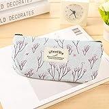 Cute Kawaii Floral Flower Canvas Zipper Estuches para lápices Lovely Fabric Flower Tree Pen Bags School Supplies, A