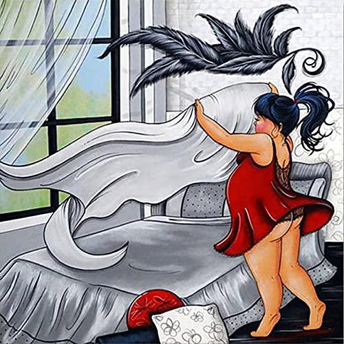 Xykhlj Pintura por numeros - Retrato de Mujer de Anime de Dibujos Animados - Lienzo preimpreso - óleo Regalo para Adultos Niños Pintura - Arte de Lona para decoración del hogar - 50x50cm - Sin Marco