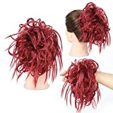 PrettyWit Fluffy Tousled Hair Bun With Elastic Rubber Band Wrap On Hair Extensions Updo Messy Ponytail Hairpiece-Black 1 (Burgundy)