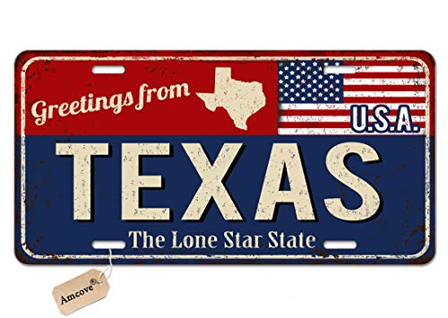 Amcove License Plate Greetings from Texas Vintage Rusty Metal Sign with American Flag Decorative Car Front License Plate,Vanity Tag,Metal Car Plate,Aluminum Novelty License Plate,6 X 12 Inch