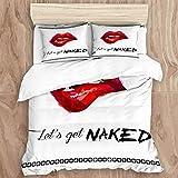 SUPERQIAO Juego de Funda nórdica, Labio Rojo de Mujer Sexy con Get Naked Fashion, Juego de Cama Decorativo de 3 Piezas con 2 Fundas de almohQDa