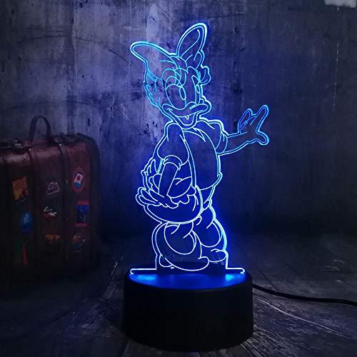 SHJDY Donald Duck nachtlampje, 7 kleuren, 3D-slaaplicht, led-flits, stroomvoorziening USB, afstandsbediening, geschikt voor decoratie van de kamer, kerstcadeau