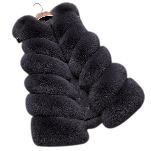 Dikoaina Fashion Women's Warm Long Faux Fox Fur Vest Waistcoat Sleeveless Jacket Coat