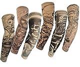 SHINA 6 Pcs Set Arts Fake Temporary Tattoo Slip On Tattoo Arm Sleeves Kit M Skull Ghost Devil