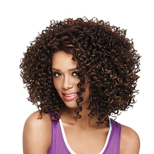 Malloom Naturel Rose De Cheveux Net Plein Perruque Frisée Big Bob Vague Cheveux Brun Femmes Perruques Synthétiques