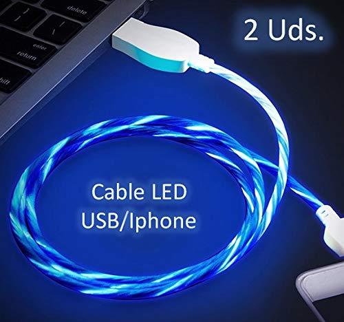 NOVEDAD Pack 2 unidades de Cable de Carga para movil con LED- FLOW. (Ilumina el cable de carga del teléfono con sensación de movimiento) (Pack 2x Iphone)