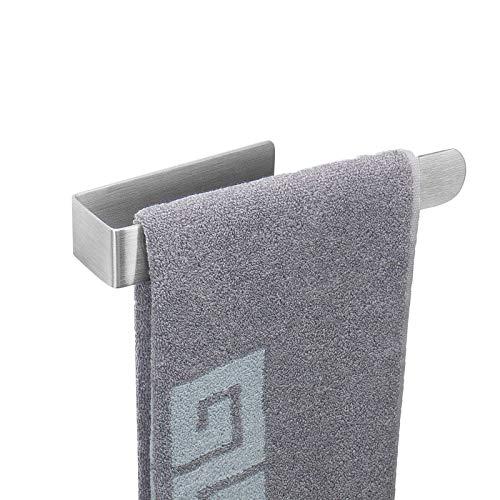 Toallero de mano con anilla de agarre fuerte, barra de toalla de baño autoadhesiva, toallero de acero inoxidable grueso - Toallero pegajoso, estilo contemporáneo, sin perforación (níquel cepillado)
