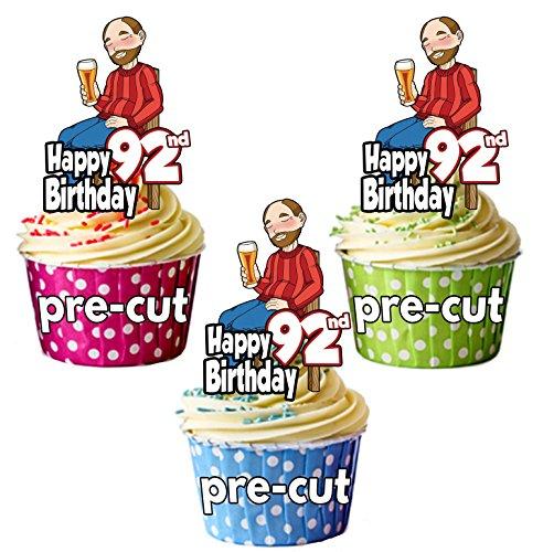 PRECUT- Bebedero de cerveza para hombre 92ª cumpleaños – adornos comestibles para cupcakes/decoraciones para tartas (Pack de 12)