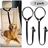 CGBOOM Lot de 2 ceintures de sécurité pour chiens réglables pour voiture, double usage, harnais de sécurité pour voiture, accessoire de voyage, noir