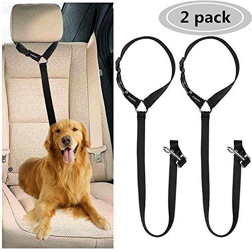 Cinturón de Seguridad para Perros, Cinturón de Seguridad de Coche para Perro, Arnés del Cinturón de Nylon para Perro Ajustable, Correa Elástica, Duradero Reposacabezas para trasportar Mascotas 2 Pcs ⭐