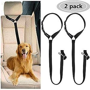 Cinturón de Seguridad para Perros, Cinturón de Seguridad de Coche para Perro, Arnés del Cinturón de Nylon para Perro Ajustable, Correa Elástica, Duradero Reposacabezas para trasportar Mascotas 2 Pcs