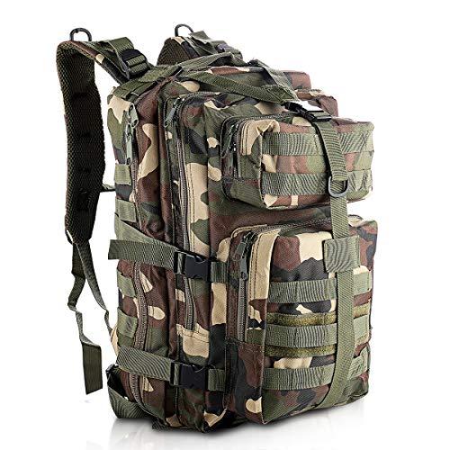 SHANNA Zaino Militare, Zaino tattico Zaino Militare 35L Molle Pack d assalto Zaino tattico da Combattimento per Escursioni all aperto Campeggio Trekking Pesca Caccia (Jungle Camouflage)