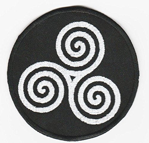 Triple spiral triskele embroidered sew on patch astral threads
