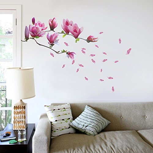 Walplus Wall Stickers Huge Magnolia Flowers Removable Self-Adhesive Mural Art Decals Vinyl Home Decoration DIY Living Bedroom Office Décor Wallpaper Kids Room Gift, Multi-colour