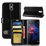 DOOGEE BL7000 Brieftasche Hülle, GOGMEE Senior PU-Leder Brieftasche Telefon-Kasten mit Einschubfächer für Karten, Magnetische Verschluss, Flip Bracket Funktion, Schwarz