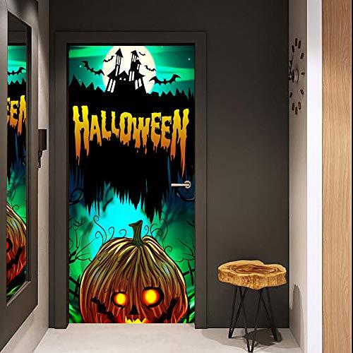 3D Tür Wand Aufkleber Halloween Kürbis Ideen 30.3X78.7 Inch Abnehmbare Tür Aufkleber Photo Tapete, Selbstklebendes Wandgemälde Für Schlafzimmer-Haupttür Büro Wand Aufkleber Dekoration
