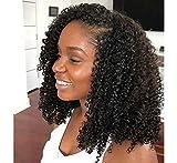 Maxine Hair 10A Kinky Curly U Part Human Hair Wig for Black Women, Brazilian Remy Human Hair Glueless 2x4 U Shape Clip in Half Wig Natural Color (16inch)