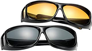 ZEVONDA Men Women Wear Over Sunglasses - UV400 Fit Over Glasses Set of 2 PCS Sunglasses and Night Driving Glasses
