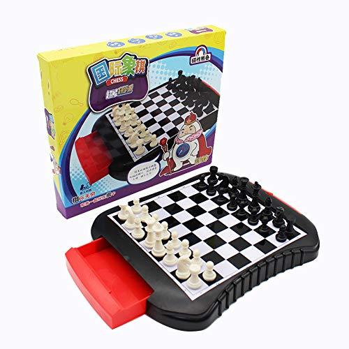 ZIQI Schach-Set, Reise magnetische Schach-Set 25,8 x 22cm mit Schach Schublade/Portable Storage Board - traditionelle Taktische Strategie Spiel für Kinder/Erwachsene