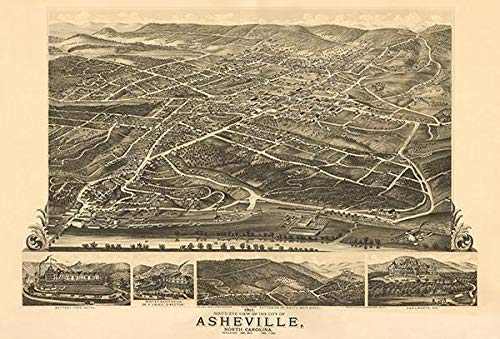 Asheville, North Carolina - 1891 - Aerial Bird's Eye View Map Poster