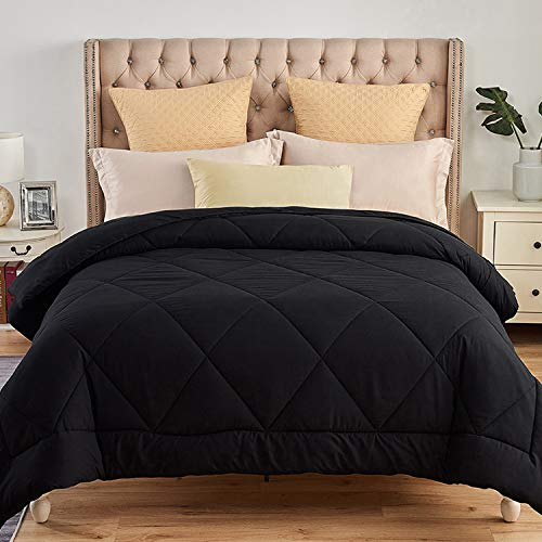 JML Luxury All Season Down Alternative Comforter Twin Size - Soft Summer Brushed Microfiber Comforter Insert with 8 Corner Loops - Diamond Stitched Duvet Insert - Black