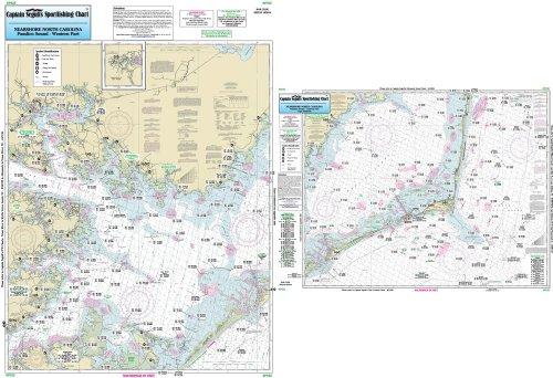 Nearshore Pamlico Sound, NC - Laminated Nautical Navigation & Fishing Chart by Captain Segull's Nautical Sportfishing Charts | Chart # PS25