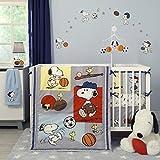 Bedtime Originals 3 Piece Snoopy Sports Bedding Set Blue