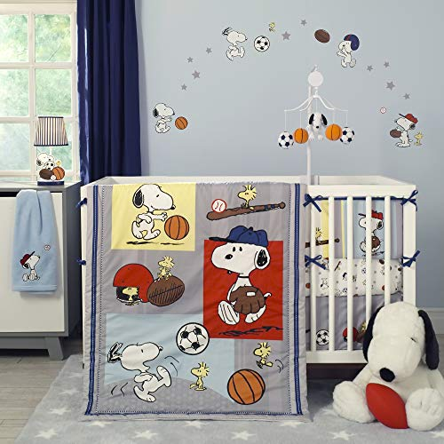 Discover Bargain Bedtime Originals 3 Piece Snoopy Sports Bedding Set