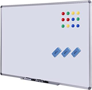 Dry Erase Board - White Board 48 x 36 Magnetic Dry Erase Board with Aluminum Frame, Large White Board Commercial Quality Wall Size White Board, Magnetic Board with 3 Erasers, 4 Markers and 12 Magnets
