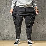 WFRAU Übergröße XL-7XL Herren Lange Jeans Lose Pure Farbe mit Taschen Reißverschluss Jeanshosen Männer Hosen Trainingsanzug Jogging Sweat Hosen Joggers Activewear Hosen Jogginghose