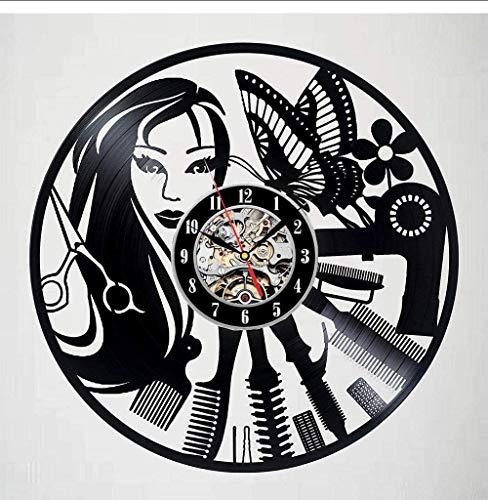 zgfeng Reloj de Pared de barbería, Reloj de peluquería de diseño Moderno, Reloj de Vinilo para peluquería, Reloj de Pared con Registro de CD, decoración del hogar, Mudo de 12 Pulgadas-con LED