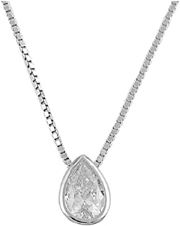 New .925 Sterling Silver Tear Drop Cubic Zirconia Necklace 16
